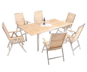 Gartenmöbel-Set Keachi mit ausziehbarem Tisch und Klappstühlen, 7-tlg.