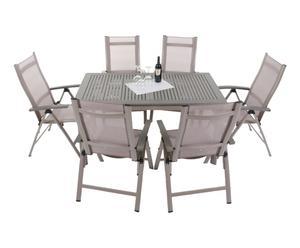 Gartenmöbel-Set Baldwin mit ausziehbarem Tisch und Klappstühlen, 7-tlg.