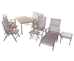 Gartenmöbel-Set Anacoco mit ausziehbarem Tisch und Klappstühlen, 10-tlg.