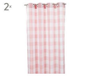 Vorhangschals MARBELLA, 2 Stück, rosa/weiß, 260 x 140 cm