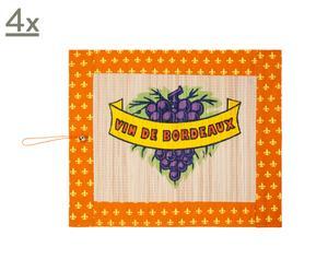 Bambus-Tischsets Vine Orange,<br>4 Stück
