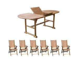 Gartenmöbel-Set Paris mit ausziehbarem Tisch und Klappstühlen, 7-tlg.
