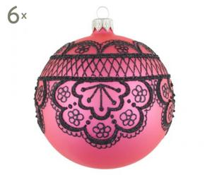 Weihnachtskugeln Black Lace, 6 Stück, pink