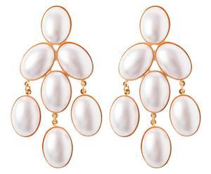 Vergoldete Ohrringe CHANDELIER, perlmuttfarben