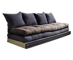 Multifunktionales Futon-Sofa TATAMI, grau/braun
