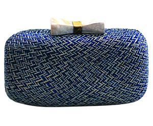 Handgefertigte Clutch Jean mit Perlmuttschließe, blau/weiß