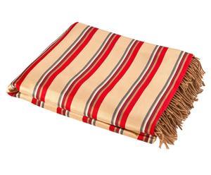Seiden-Decke MARQUEE, rot/beige, 130 x 180 cm