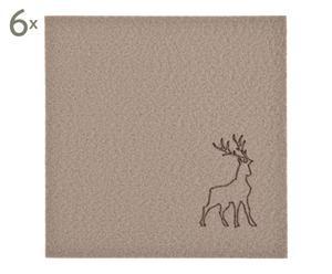 Untersetzer Rudolf, 6 Stück, kamel, eckig