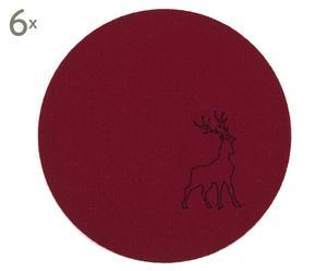 Untersetzer Rudolf, 6 Stück, rot, rund