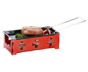 Raclette-Set CH-Kreuz, rot/schwarz, 7-tlg.