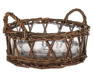 Rattankorb Marie mit Glasbehälter, braun, Ø 29 cm