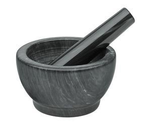 Mörser mit Stößel Marmor, schwarz, Ø 11 cm
