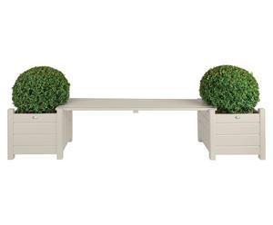 Sitzbank Dandy mit Blumenkästen, weiß, B 188 cm
