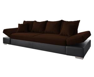Sofa Miami mit Bettkasten und Bettfunktion, dunkelbraun/schwarz