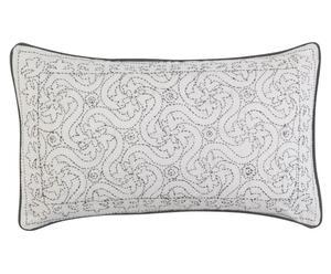 Handgefertigte Kissenhülle Kanta, weiß/grau, 30 x 50 cm