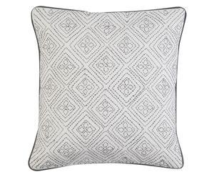 Handgefertigte Kissenhülle Kasia, weiß/grau, 40 x 40 cm