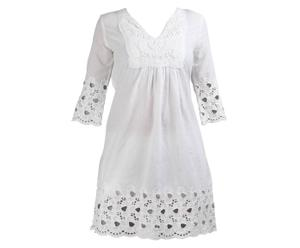 Baumwoll-Strandkleid Sarah, weiß, L