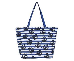 Strandtasche Karo, blau/weiß, B 50 cm