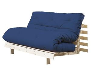 Multifunktionales Futon-Sofa Roots, natur/ marineblau, B 140 cm