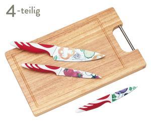 Messer-Set Extravagant mit Schneidebrett, 4-tlg., rot