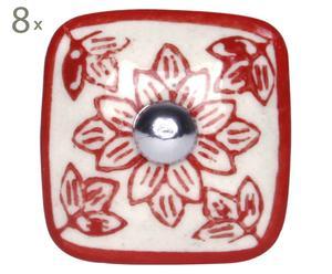 Handgearbeitete Knäufe Blume, 8 Stück, rot, B 4 cm