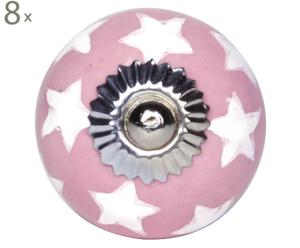 Handgearbeitete Knäufe Stars, 8 Stück, rosa/weiß, Ø 4 cm