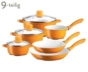 Kochtopf-Pfannen-Set Alioth, 9-tlg., weiß/orange