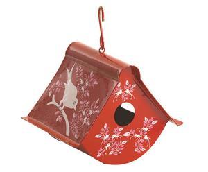 Handbemaltes Vogelhaus Sina, rot, H 12 cm