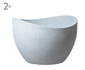 Pflanzgefäße Wave Globe, 2 Stück, weiß/grau, H 37 cm