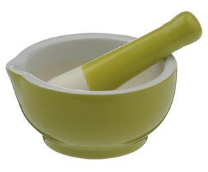 Mörser mit Stößel Lemon Grass, hellgrün/weiß, Ø 12 cm