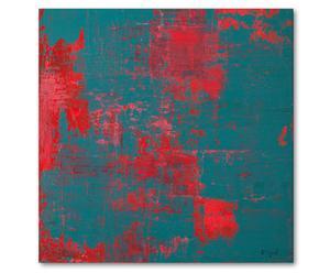 Druck auf Leinwand Red on turquoise, 80 x 80 cm