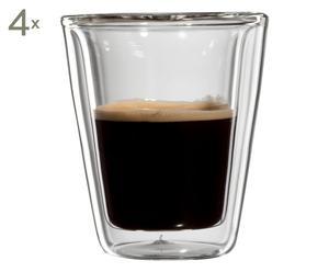 Doppelwandige Espresso-Gläser Milano, 4 Stück, H 7 cm