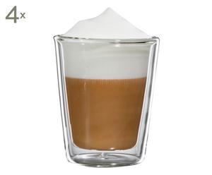 Doppelwandige Cappuccino-Gläser Milano, 4 Stück, H 10 cm