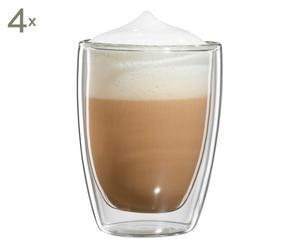 Doppelwandige Cappuccino-Gläser Roma, 4 Stück, H 10 cm