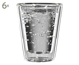 Doppelwandige Wassergläser Coffemat, 6 Stück, H 10 cm