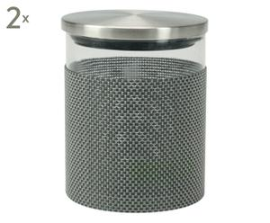 Aufbewahrungsgläser Carmen, 2 Stück, grau, H 13 cm