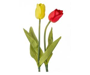 Kunstblumen-Set Tulip, 2-tlg., gelb/rot, H 46 cm