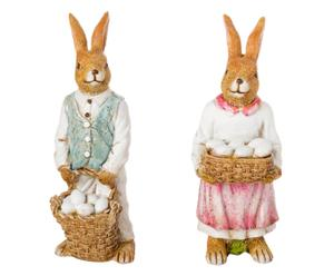 Deko-Figuren-Set Frau und Herr Hase, 2-tlg.