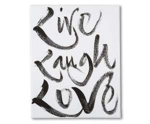 Leinwanddruck Live Laugh Love, 20 x 30 cm