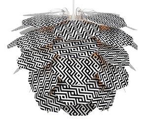 Hängeleuchte Sign, schwarz/weiß gemustert, Ø 48 cm