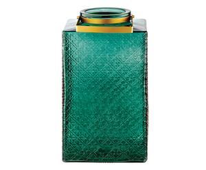 Windlicht Christy, grün/goldfarben, H 34 cm