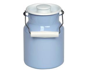 Milchkanne Resi mit Deckel, hellblau/weiß, 1,5 l