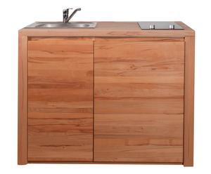 Pantry-Küche Maya mit Ceranfeld und Kühlschrank, Kernbuche geölt, B 120 cm