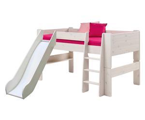 Halbhochschläferbett Kids mit Rutsche, umbaubar, weiß, 90 x 200 cm