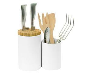 Aufbewahrungsgefäß Knife & Spoon, weiß, H 22 cm