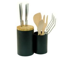 Aufbewahrungsgefäß Knife & Spoon, schwarz, H 22 cm