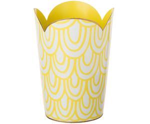 Papierkorb Karneval, gelb,weiß, Ø 15 cm