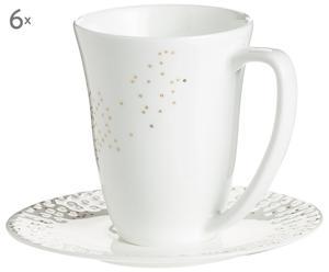 Tassen-Set Lys, 12-tlg., gold,weiß, 200 ml