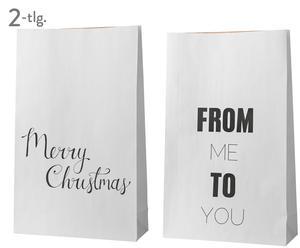 Geschenktüten-Set Christmas, 2-tlg., weiß, schwarz, B 50 x H 80 cm