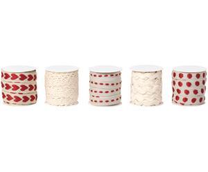 Geschenkband-Set Idun, 5-tlg., weiß, rot, L15 m